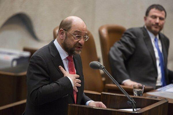 Martin Schulz počas prejavu v Knessete.