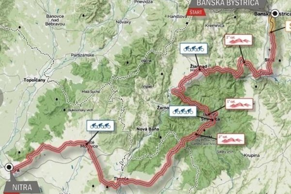 Trasa druhej etapy (9.6.) z Banskej Bystrice do Nitry.