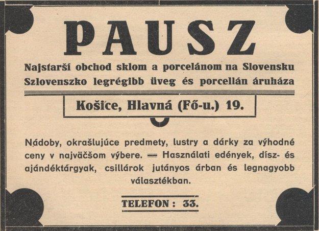Dobová reklama na košického predajcu skla Pausza.
