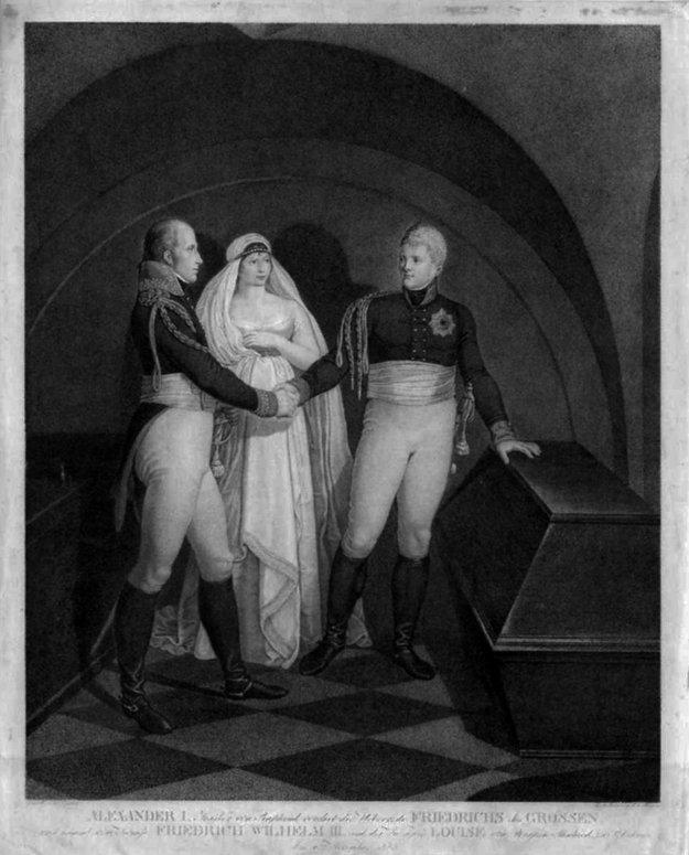 Pruská kráľovná Luisa s manželom a ruským cárom Alexandrom