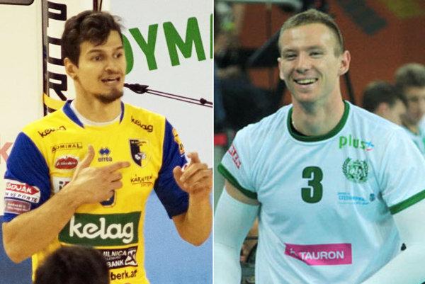 Rakúšan Anton Lukas Menner (vľavo) prichádza do Nitry z tímu Aich/Dob. Stanislaw Wawrzyńczyk je 202 cm vysoký smečiar z Poľska.