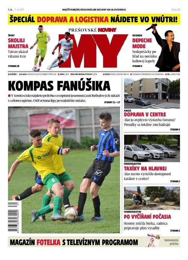 Titulná strana týždenníka MY Prešovské noviny č. 30/2017.