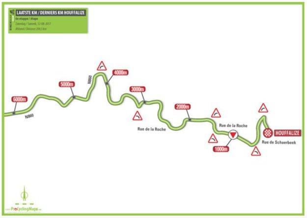 Posledný kilometer 6. etapy BinckBank Tour 2017.