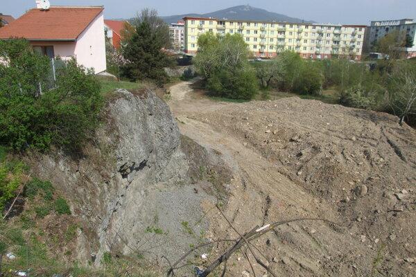Navezená zemina v strede bane predtým, ako ju zarástla burina.