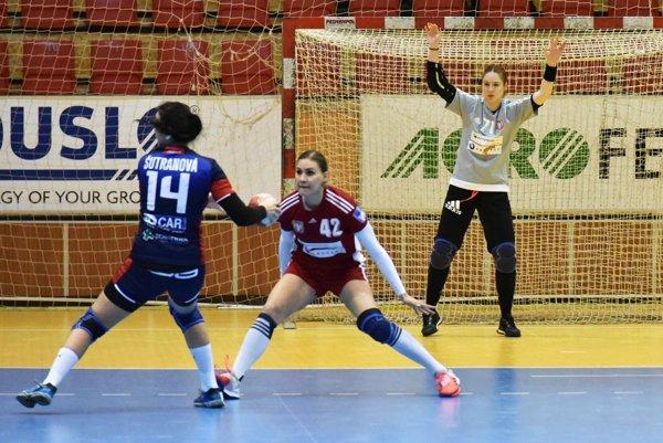 V jednom zo zápasov v Bánovciach Šalianky porazili aj Prešov. Na archívnej snímke Karin Bujnochová a Olexandra Krebs.