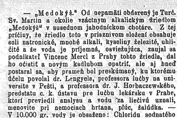 Článok v Národných novinách z roku 1894.