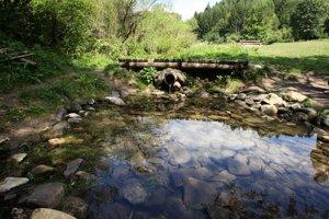 Kamenný breh jazierka je čiastočne narušený.