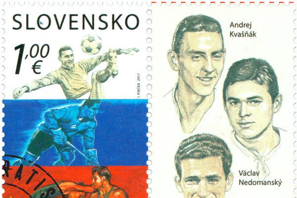 Nová poštová známka zobrazuje významné postavy československého športu.