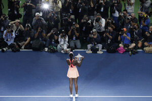 Americká tenistka Sloane Stephensová po triumfe na US Open.