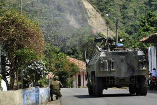 Vojenský zásah v meste Caloto.