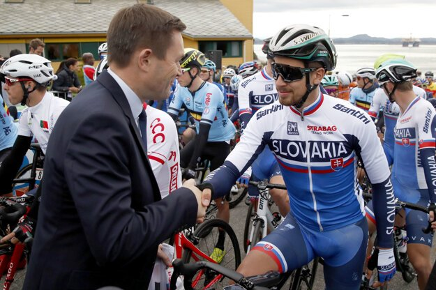 Peter Sagan a David Lappartient.