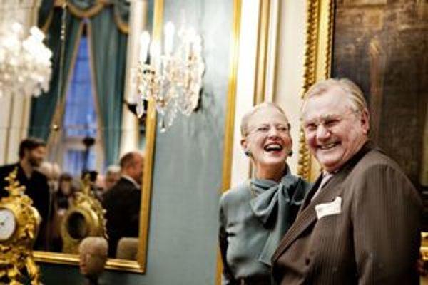 Kráľovná Margaréta s princom Henrikom.