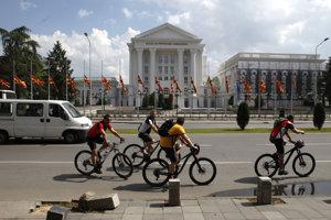 Skopje, hlavné mesto Macedónska. Na oslavách Dňa nezávislosti.
