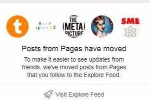 Na desktopovej verzii facebooku sa vám mohla objaviť táto správa. Príspevky od stránok sa presunuli do vlastnej sekcie.
