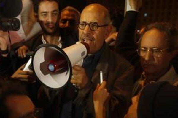 Nositeľ Nobelovej ceny za mier Muhammad Baradej sa v nedeľu prihováral davu.