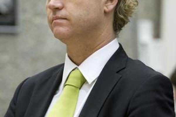 Geert Wilders na októbrovom súde v Amsterdame.