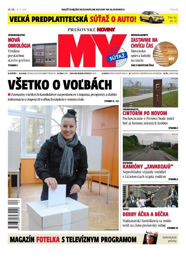 Titulná strana týždenníka MY Prešovské noviny č. 43/2017.