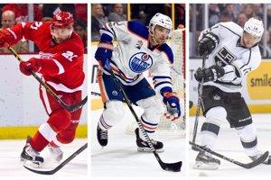 Traja momentálne najlepšie platení Slováci v NHL - zľava Tomáš Tatar, Andrej Sekera a Marián Gáborík.