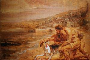 Obraz Petra Paula Rubensa je tiež inšpirovaný mýtickým príbehom o tom, ako Herkulov pes zdvihol z pláže zvláštneho slimáka a začal slintať na fialovo.