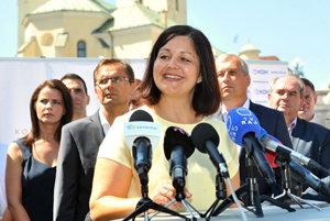 Erika Jurinová (OĽaNO) po víťazstve v župných voľbách v Žilinskom kraji.