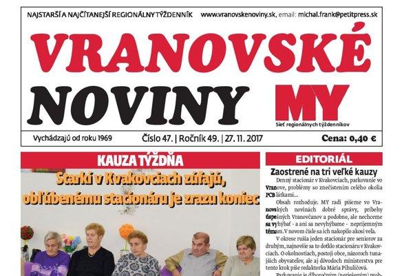 Titulná strana týždenníka Vranovské noviny č. 47/2017.