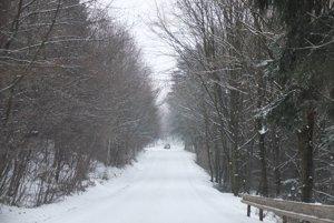 Takto vyzerala v stredu (29.11.) na poludnie cesta medzi Hodrušou - Hámre a Banskou Štiavnicou.