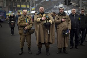 Protijanukovyčovskí aktivisti v Kyjeve.