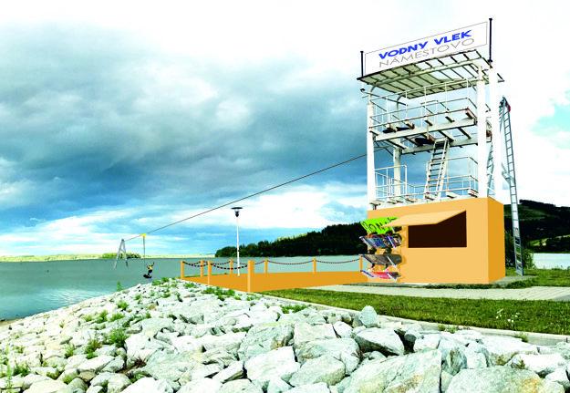 Vizualizácia vyhliadkovej veže, ktorá bude slúžiť ako prevádzka pri vodnom vleku.