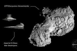 Kométa 67P (4,3x4,1 km) a dve imperiálne bojové lode(dĺžka 1600 m).
