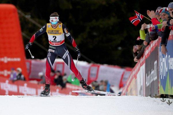 Heidi Wengová prichádza do cieľa na vrchole zjazdovky vo Val Di Fiemme.