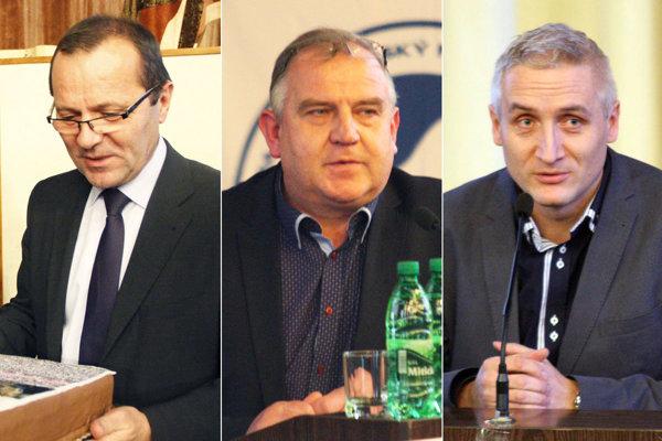 Kandidáti na post predsedu ZsFZ - zľava Ladislav Gádoši, Pavol Šípoš a Róbert Šuník.