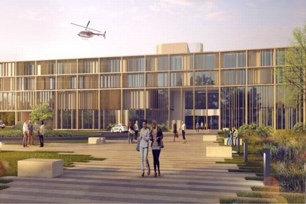 Víťazný projekt možného vzhľadu novej nemocnice.