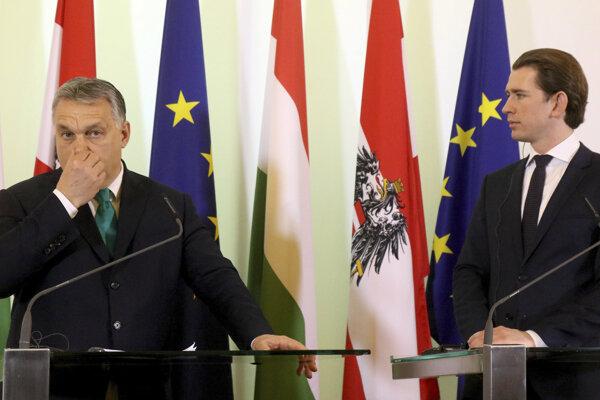 Maďarský premiér Viktor Orbán a rakúsky kancelár Sebastian Kurz.