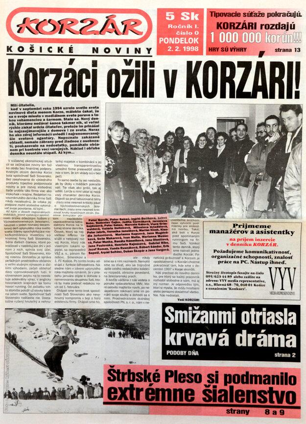 Titulka nultého čísla Korzára.