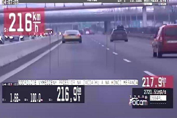 Vodič prekročil maximálnu povolenú rýchlosť o 126 km/h.