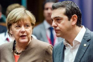 Nemecká kancelárka Angela Merkelová a grécky premiér Alexis Tsipras.