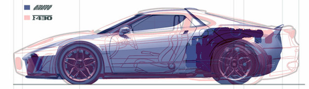 Porovnanie konštrukcie nového Stratosu a Ferrari 430 Scuderia.