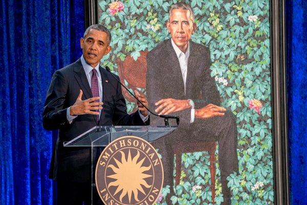 Bývalý americký prezident  Barack Obama má prejav pri uvedení jeho portrétu do National Portrait Gallery.