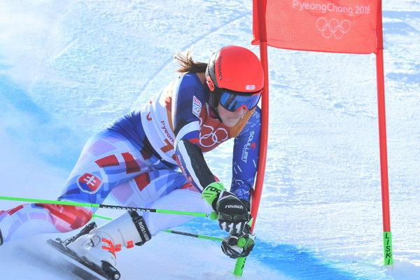 Petra Vlhová počas obrovského slalomu na ZOH v Pjongčangu.