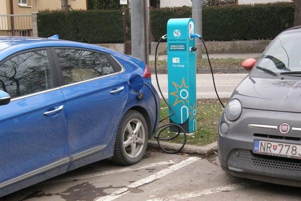 Nabíjacia stanica pre elektromobily na Wilsonovom nábreží v Nitre