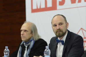 Župan Jozef Viskupič (vpravo) a hovorca mesta Trnava Pavol Tomašovič.