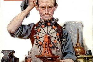 Obálka časopisu Popular Science z októbra 1920 s jedným z návrhov perpetuum mobile.
