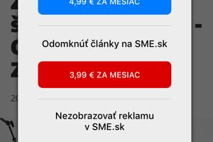 """V každom článku môžete po stlačení tlačidlo """"Predplatné"""" ľahko vyvolať možnosť predplatných SME.sk. Teraz môžete vyskúšať prvý mesiac zadarmo."""