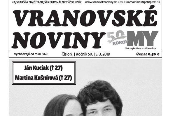 Titulná strana týždenníka Vranovské noviny č. 9/2018.