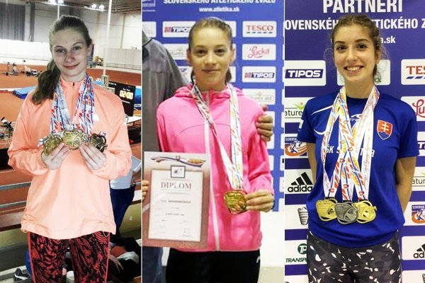 Zľava Andrea Švecová (ŠK ŠOG Nitra), Hana Záhradníčková (AC Stavbár Nitra) a Emma Zapletalová (ŠK ŠOG Nitra).