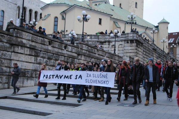 Žilina bola jedným z 19 slovenských miest, v ktorých sa v piatok konal pochod Za slušné Slovensko.