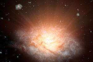 Nasjjasnejšia galaxia žiari viac ako 300 miliárd sĺnk. (umelecké zobrazenie)