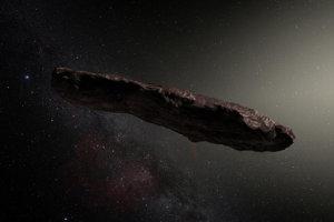 Umelecké zobrazenie prvého medzihviezdneho asteroidu 'Oumuamua.