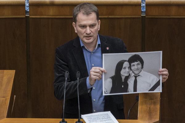 Igor Matovič (OĽaNO) počas 30. schôdze Národnej rady SR v Bratislave 23. marca 2018.