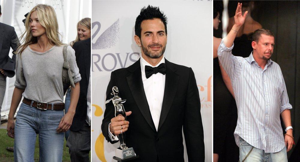 Kate Moss, Marc Jacobs (1963) a Alexander McQueen (1969-2010). Títo traja tvorili módu 90. rokov a o nich je kniha Champagne Supernovy.
